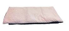"Top angle view -rectangle body wrap 9""x19"" -pink swirl velour -reverse side black velour"