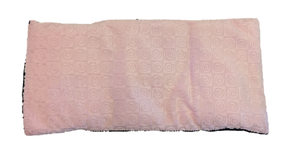 "Top view -rectangle body wrap 9""x19"" -pink swirl velour"