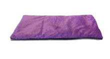 "Top angle view -rectangle body wrap 9""x19"" -purple violet swirl velour -reverse side black velour"