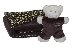 Chocolate brown raised bubble dot baby blanket w/brown & cream mini teddy bear - folded corner green polka dots on brown plush background
