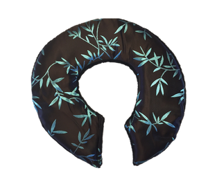 Top view -C-shaped shoulder wrap in chocolate brown silk with shimmering aqua blue bamboo leaf embroidery- reverse side black velour