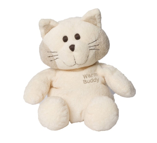 Cream flat-faced cat stuffed animal puppet w/stitched features