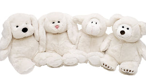 white stuffed animal puppy, bunny, sheep, bear