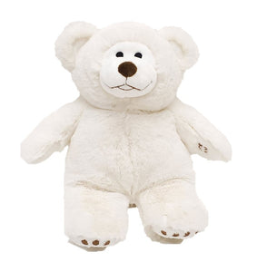white bear stuffed animal w/black eyes, nose & mouth