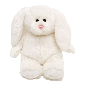 white bunny stuffed animal w/floppy ears & pink nose