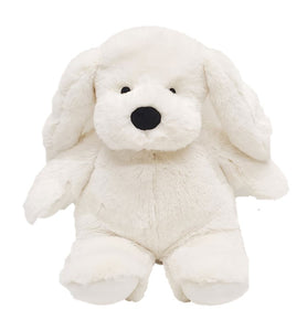 White puppy dog stuffed animal w/floppy ears, black eyes, nose, mouth