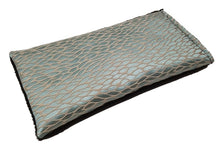 Eye pillow -angle view aqua silk with woven pattern