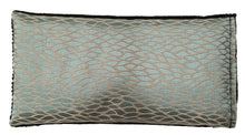 Eye pillow- top view aqua silk gold leaf patterned