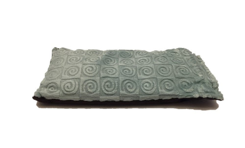 Eye pillow -top angle view -aqua blue swirl velour