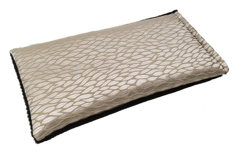 Eye pillow -angle view gold silk with woven pattern