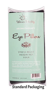 Clear plastic pillow package front for eye pillow - gold printed Warm Buddy logo on aqua label