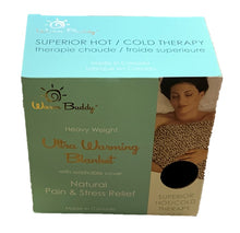 Gift box for Warming Blanket -aqua w/gold printed Warm Buddy logo on top -photo of woman w/ blanket on torso