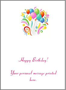 Gift Card inside sample printing - Happy Birthday w/your personal message & party balloon image