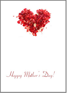 Gift card inside message sample - Happy Mother's Day w/rose petals heart image