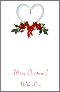 Gift card sample of inside printing - Merry Christmas with love w/heart & holly berry image