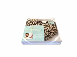 Leopard print fur heart-shaped heating pad inside clear lid gift box with elastic ribbon corners & anti-stress pure essential oil bottle - front angle view