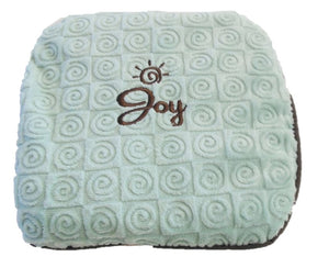 "Small square heating pad 9""x9"" - embroidered Warm Buddy logo over ""Joy"" text on aqua swirl velour fabric -top view"