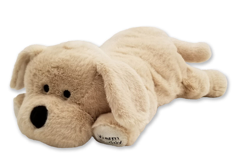 Large yellow floppy-eared Labrador puppy dog therapeutic stuffed animal laying down - black stitched eyes, nose & mouth -Warm Buddy embroidered left front paw - right front angle view