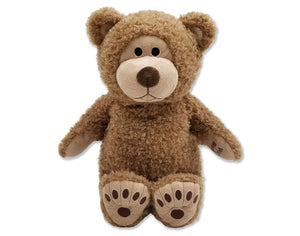 Tan Big Beary microwave heated teddy bear - front viewLarge tan smiling microwave heated teddy bear stuffed animal with bear print paw feet