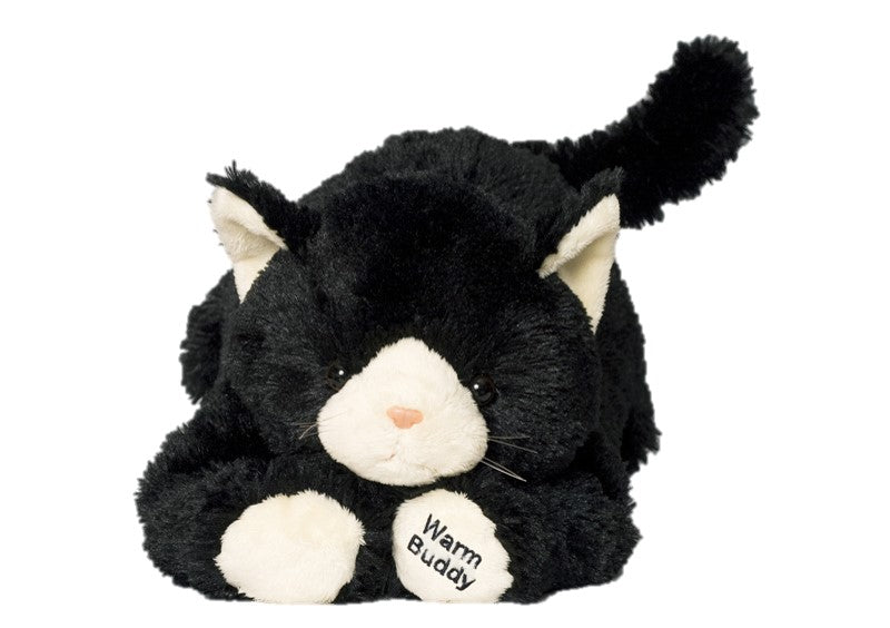 Large black hot/cold therapeutic kitten with white nose, ears & feet