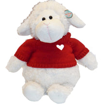 Large wooly sheep stuffed animal - curly creamy white fur wearing red heart embroidered sweater
