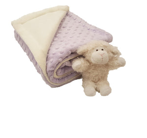 lavender raised bubble dot folded baby blanket - corner folded cream plush with mini wooly lamb