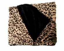 black leopard print on cream background faux fur blanket throw - folded corner black plush fur