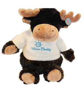 Little Buddy baby moose stuffed animal with chocolate brown fur with tan nose, antlers & feet wearing cream sweater embroidered with Warm Buddy & logo