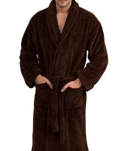 Man wearing chocolate brown robe with hands in pockets of micro-terry luxury shawl collar front patch pocket bathrobe