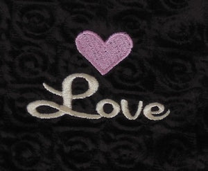 "embroidered  pink heart over script ""Love"" text on chocolate brown swirl velour fabric"