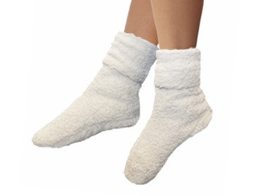 cuffed ankle Sherpa foot warmer socks-cream