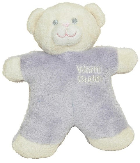 Miniature baby smiling teddy bear - cream & lavender - Warm Buddy logo on left chest