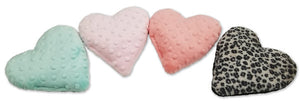 Aqua, pink,coral bubble dot & leopard fur heart-shaped heating pads