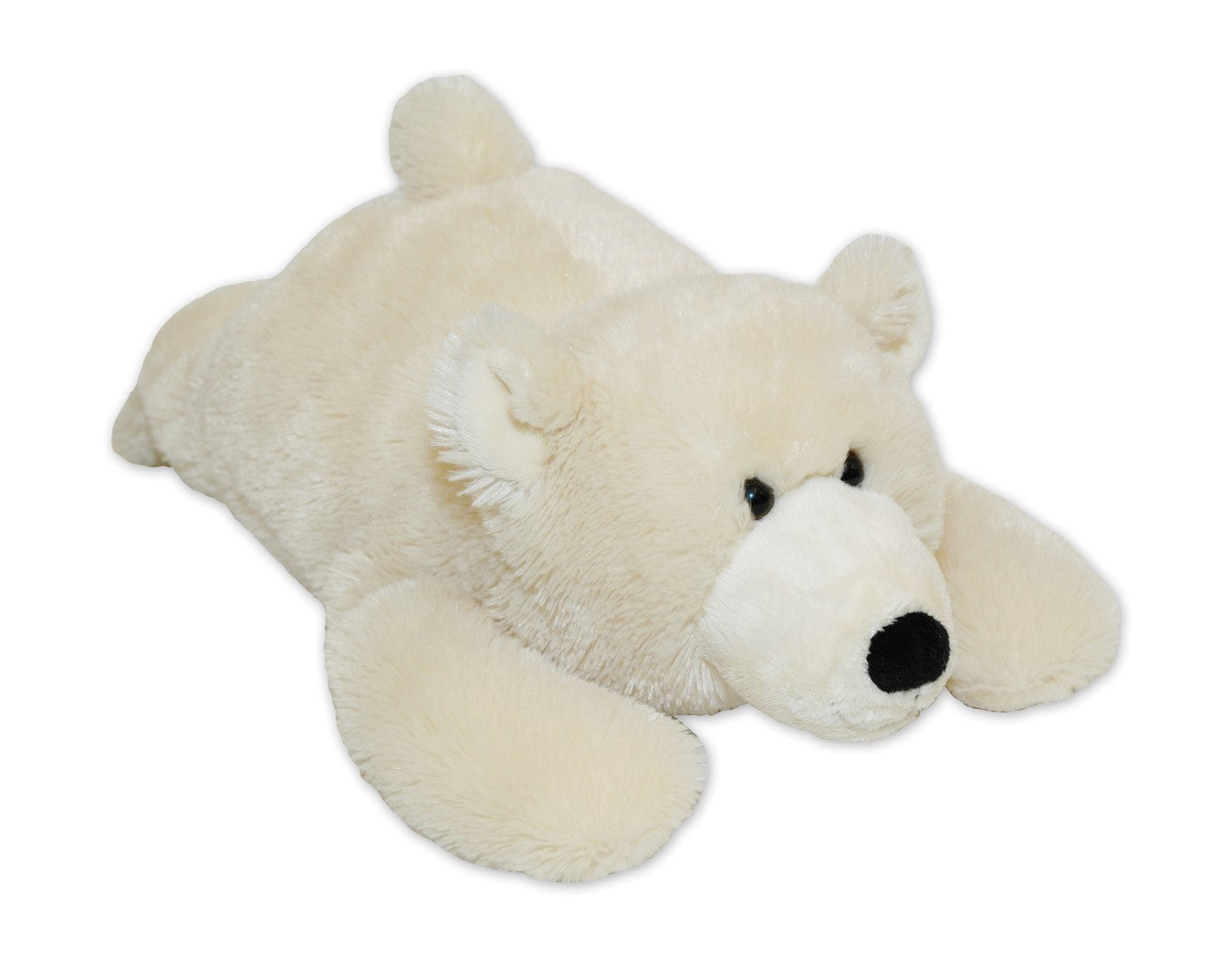 Polar bear - white stuffed animal toy w/black nose & button eyes