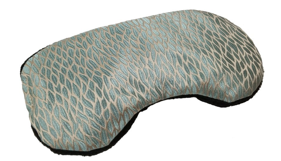 Contoured heated sleep mask -angle view- aqua silk with woven pattern