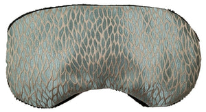 Contoured heated sleep mask -top view- aqua silk with woven pattern