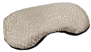 Contoured Sleep Mask -angle view -gold silk with woven pattern