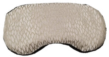 Contoured Sleep Mask -top view -gold silk with woven pattern