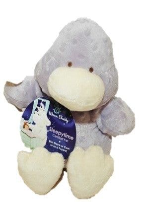 Duck stuffed animal puppet - cream & lavender bubble dot fur