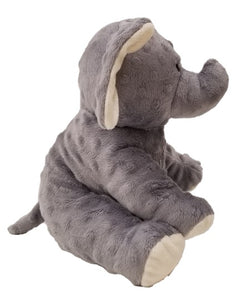Baby elephant: puppet stuffed animal side, raised dot gray fur, big floppy ears, stitched eyes