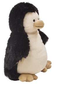 Penguin -angle -baby puppet stuffed animal- black w/white Warm Buddy embroidered chest & web feet