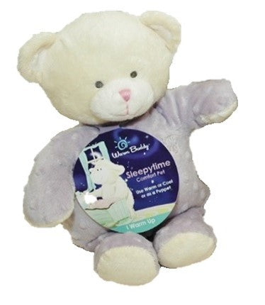 Teddy bear puppet - cream head & lavender bubble dot fabric body