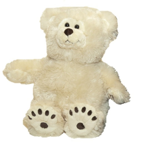 Small cream fur sitting teddy bear with black button eyes, stitched nose & mouth & bear paw print feet