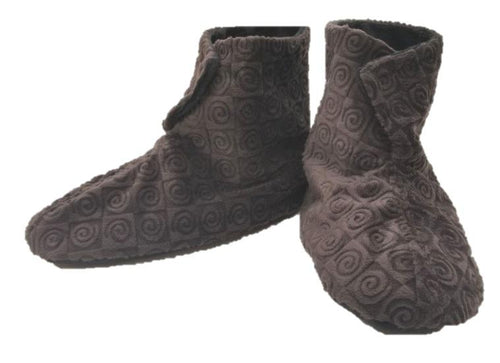 Foot warmer booties in chocolate swirl velour fabric