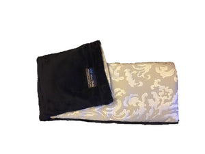 "Spa Wrap - folded top view - long rectangle shoulder heating pad 7""x24""-gold damask w/black velour"