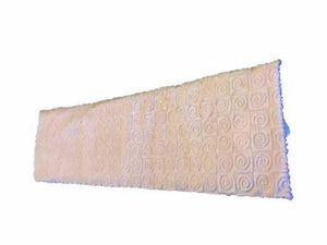 "Spa wrap -top angle view -long rectangle shoulder heating pad 7""x24"" -pink swirl velour"