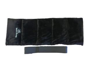 Sports heating pad wrap -top view with separate Velcro strap - black velour
