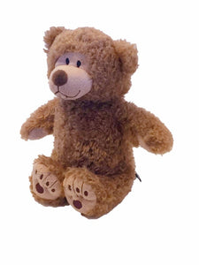 "Tan Little Buddy Beary-microwave heated teddy bear 11""- front left angle view"