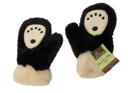 Bear paw print mittens -black fur with cream paw print and furry cuffs