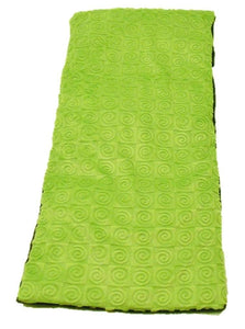 "Top angle view -rectangle body wrap 9""x19""  -kiwi green swirl velour"